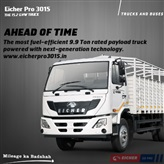 Eicher Pro 3015 - The most fuel-efficient 9.9T rated payload truck